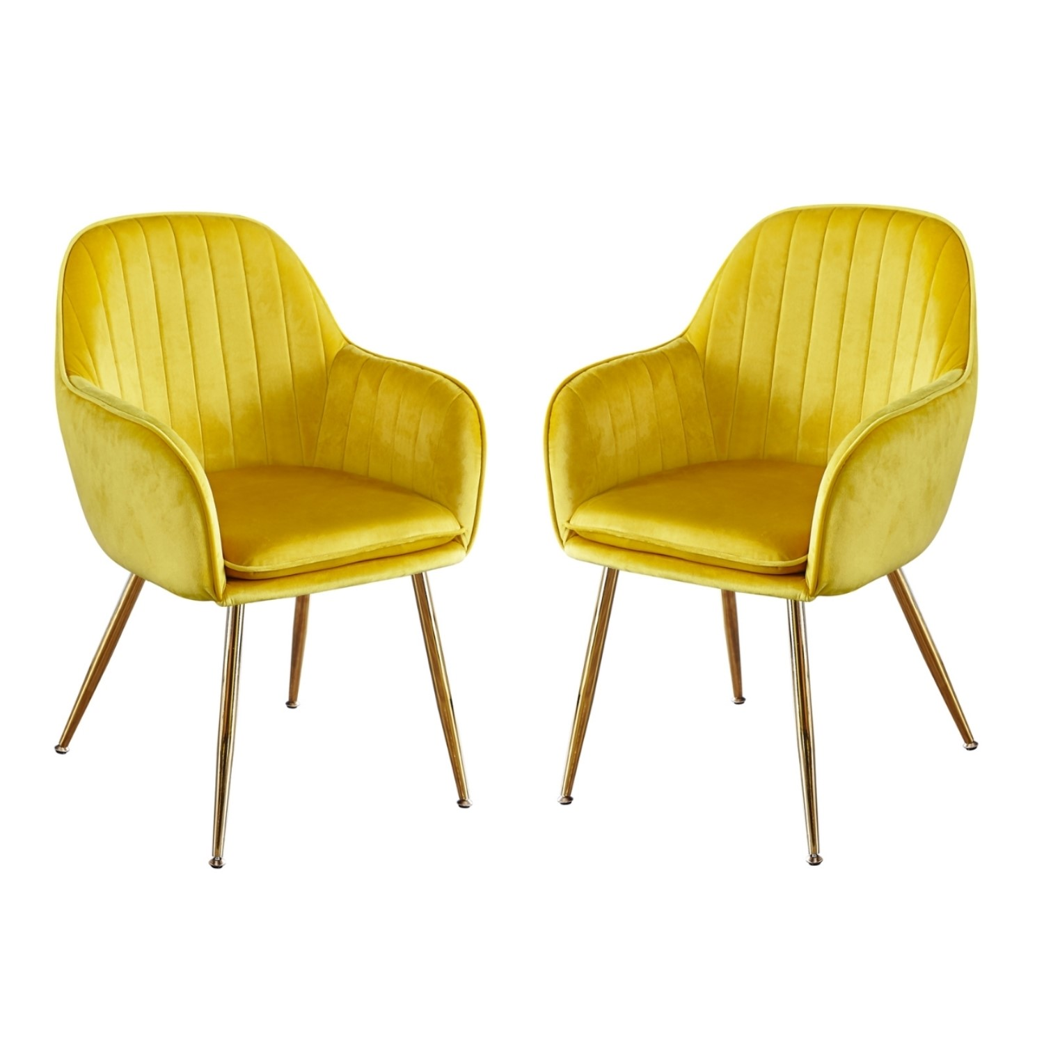 Set Of 2 Yellow Velvet Dining Chairs With Gold Legs Lara Furniture123