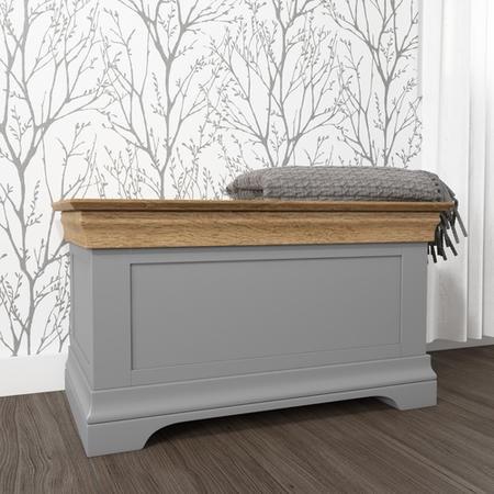 Loire Two Tone Blanket Box In Grey And Oak Furniture123
