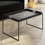 Medium Black Tray Table Coffee Table Lux Furniture123