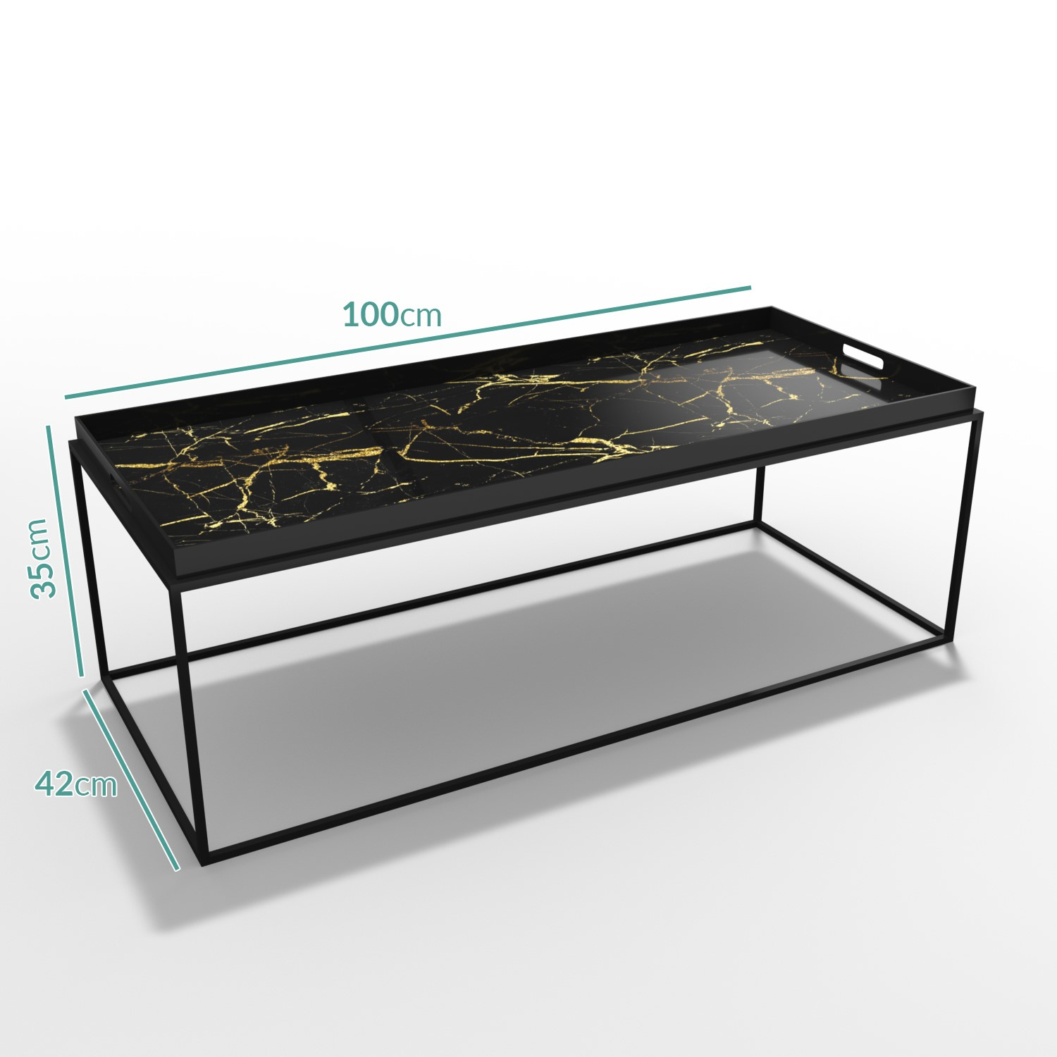 black gold coffee table large tray lux