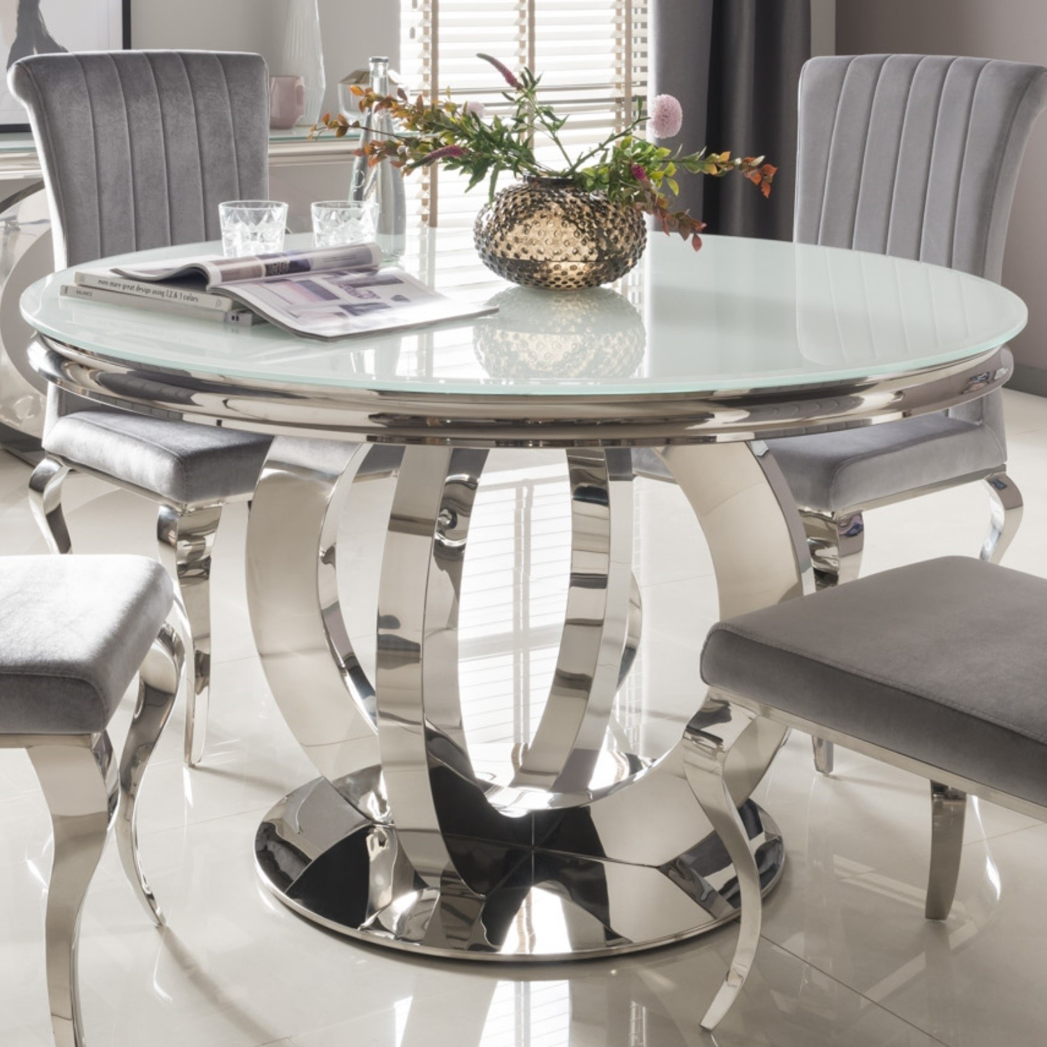 Orion Mirrored Round Dining Table With White Glass Top Vida Living Furniture123