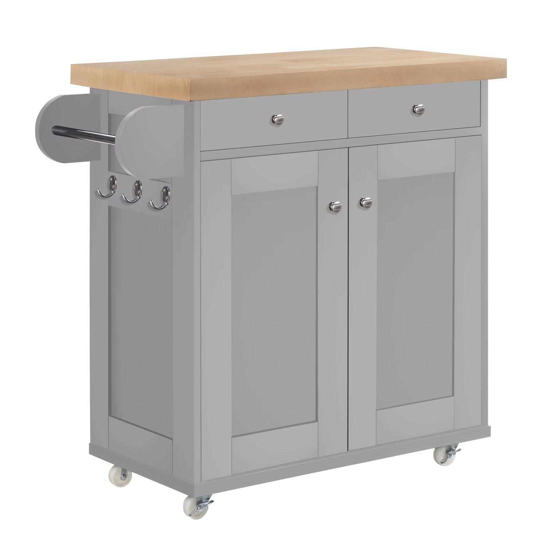 Portland Portable Kitchen Island Trolly Cart With Oak Top