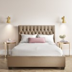 Safina King Size Ottoman Bed In Beige Velvet With Quilted Button Headboard Furniture123