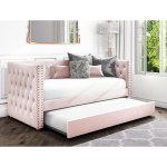 Sacha Velvet Sofa Bed In Baby Pink Trundle Bed Included Furniture123