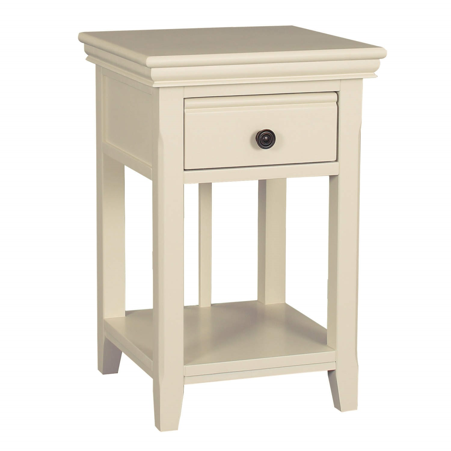 savannah bedside table with drawer in ivory cream