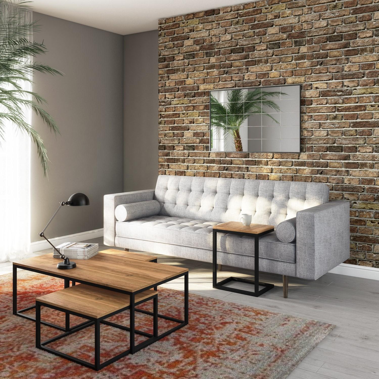 Industrial Coffee Tables In Wood Black Metal 3 Suri Furniture123