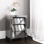 Valentina Venetian Mirrored 3 Drawer Bedside Table Tinted Grey Mirror Furniture123