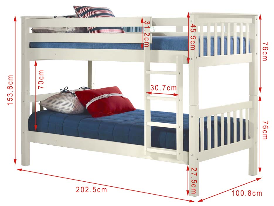 Oxford Single Bunk Bed In White Furniture123