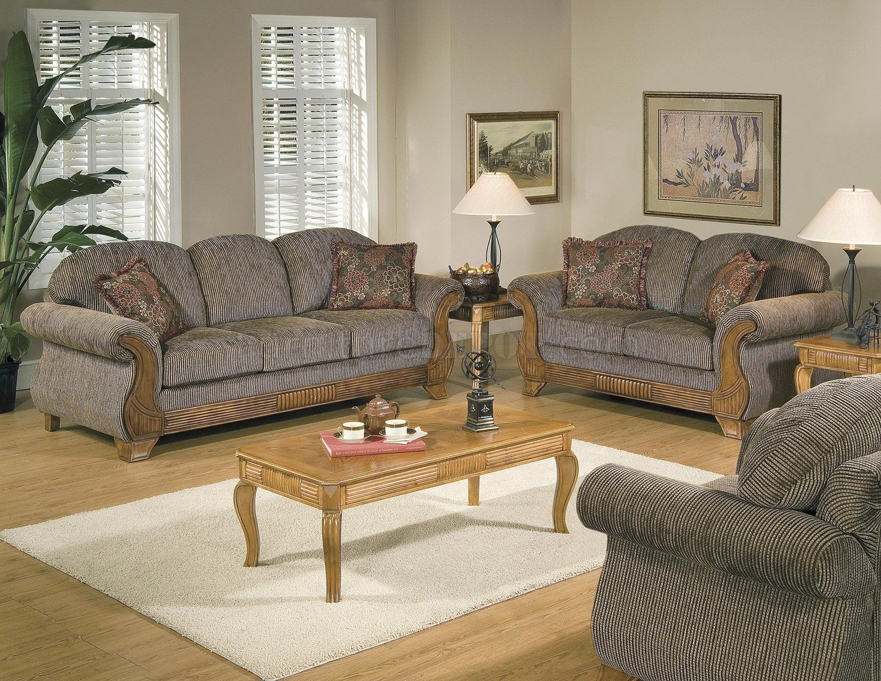 Traditional Striped Fabric Wood Trim Living Room