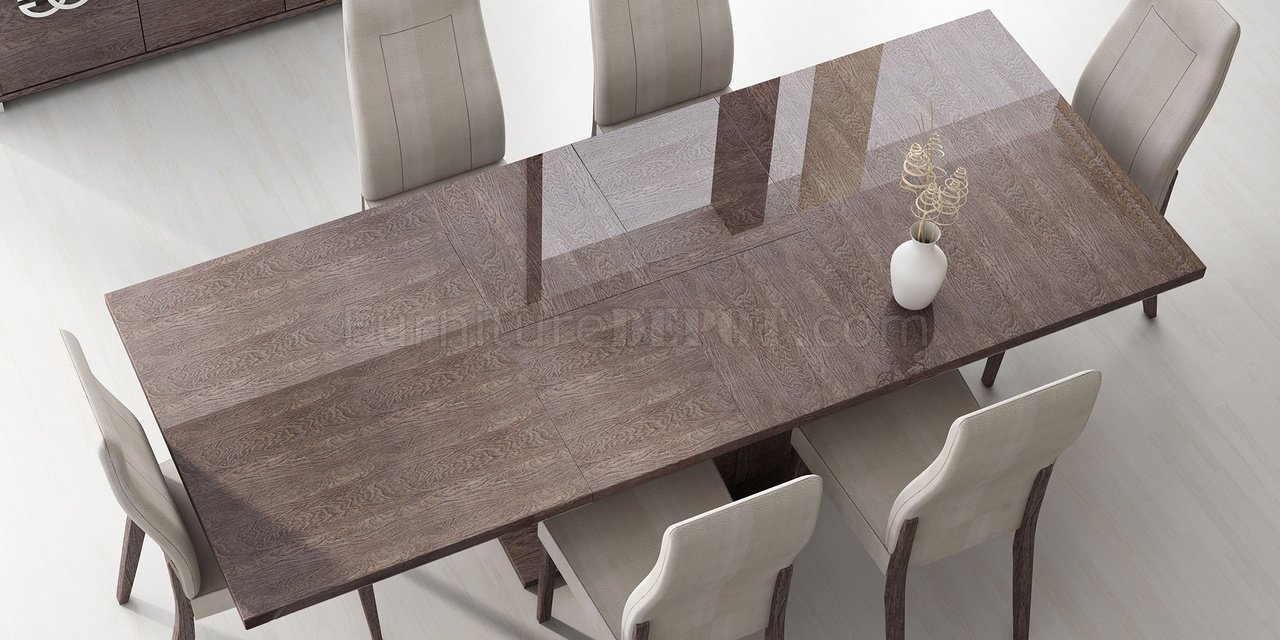 Prestige Dining Table In High Gloss Walnut By ESF W/Options