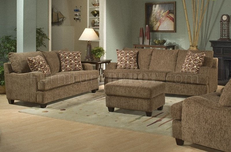 Lush Brown Chenille Stylish Living Room Sofa W/Sloping Curves