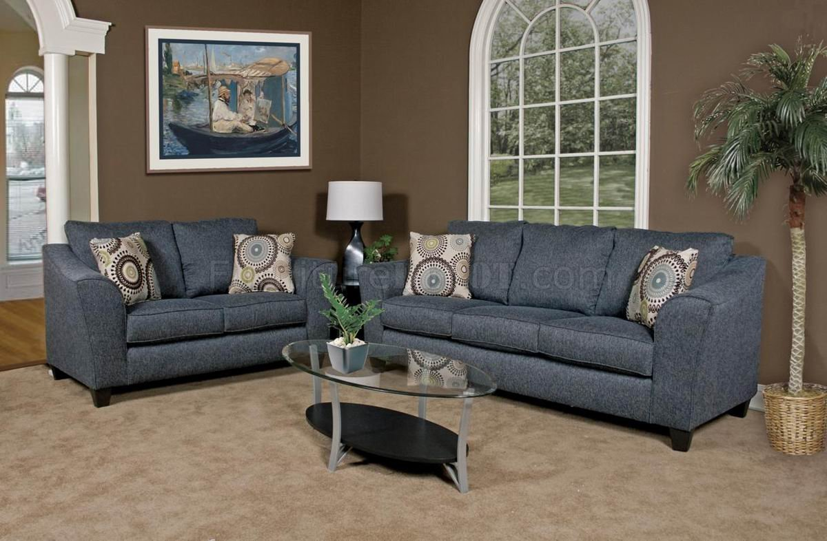 Grey Fabric Modern Loveseat & Sofa Set W/Options