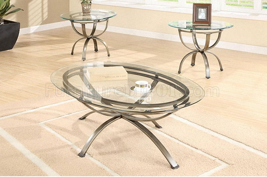 Antique Gold Metal Frame Classic 3PC Coffee Table Set