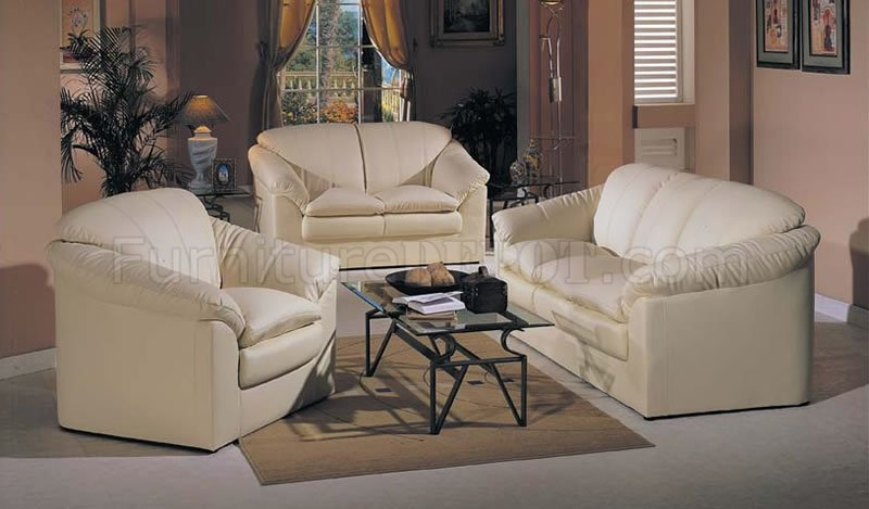 Ivory Bonded Leather Contemporary Living Room Set