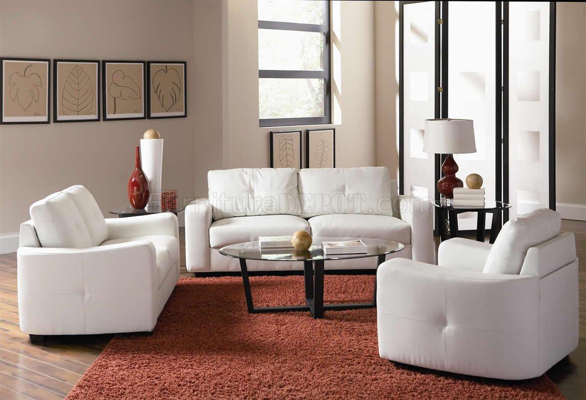 White Bonded Leather Match Modern Sofa & Loveseat Set W