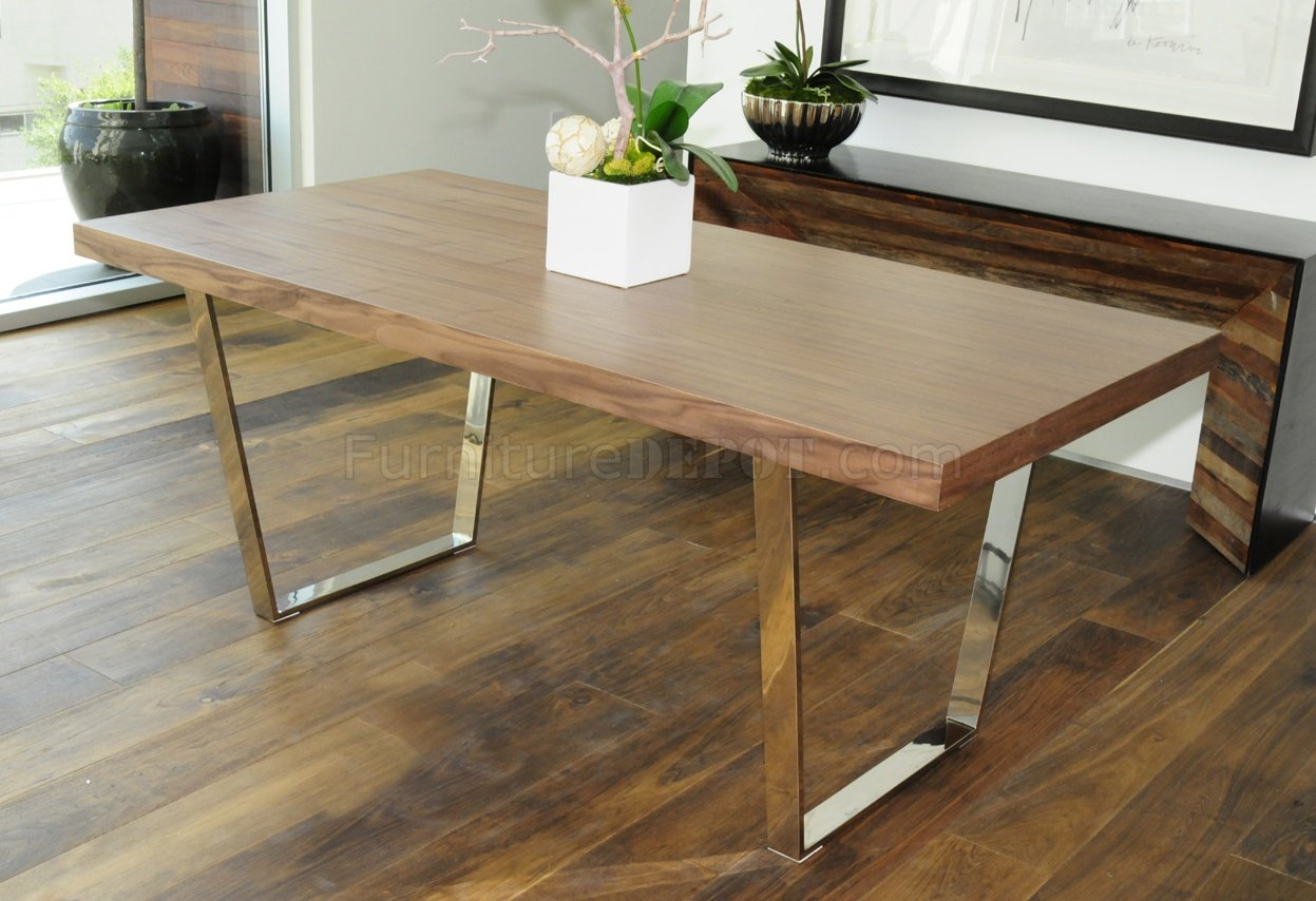 Walnut, Espresso Or White Modern Dining Table W/Metal Legs