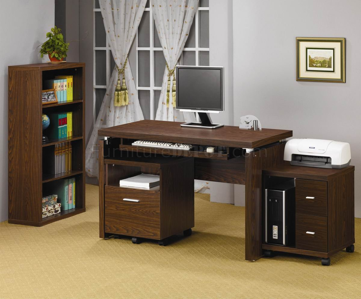Oak Finish Modern Home Office Desk W/Optional Items