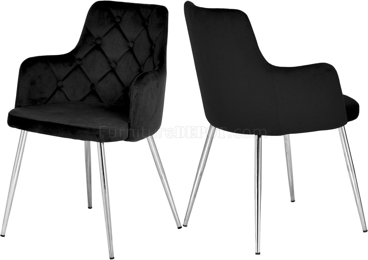 Salvatore Dining Chair 758 Set Of 2 Black Velvet Fabric