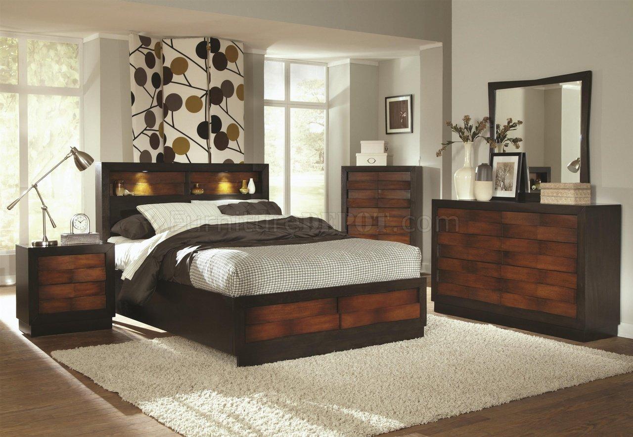 202911 Rolwing Bedroom By Coaster In Oak & Espresso W/Options