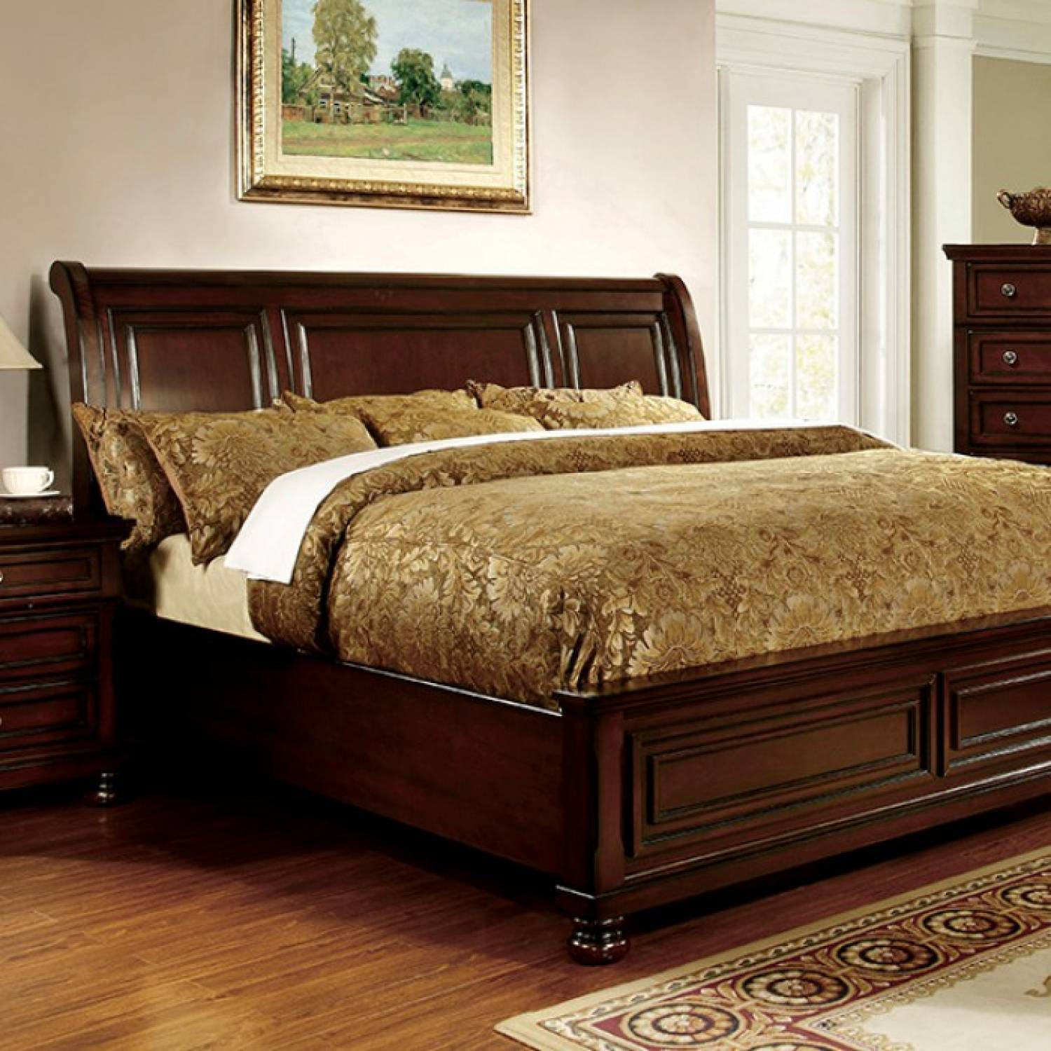 Northville CalKing Bed Dark Cherry Finish