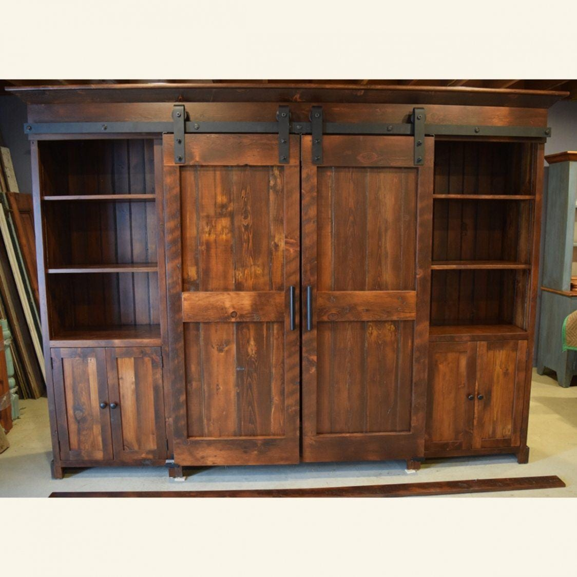 Rustic Low Profile Barn Door Entertainment Cabinet Furniture From The Barn