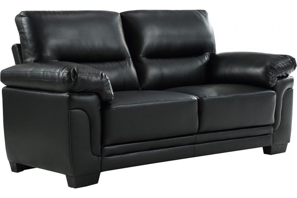 furnitureinstore kansas leather sofa black modern 3 seater