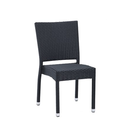 Westport Outdoor side chic finished in a black rattan for use in commercial settings
