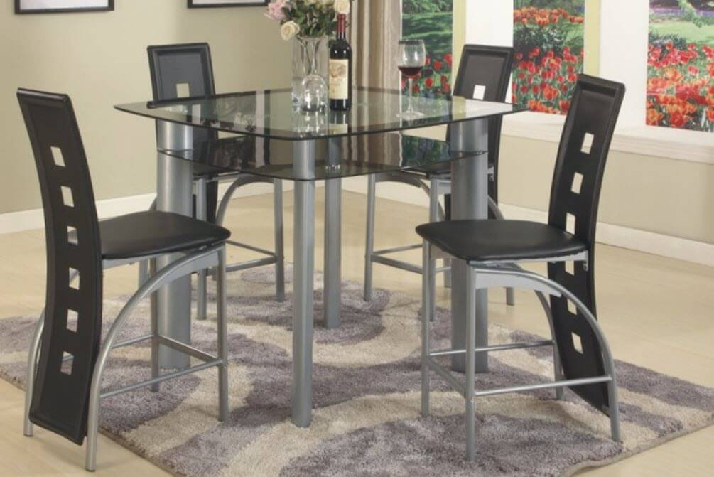 Black Metro 5 Piece Counter Height Set   Dining Room Sets 3422 Black Metro 5 Piece Counter Height Set