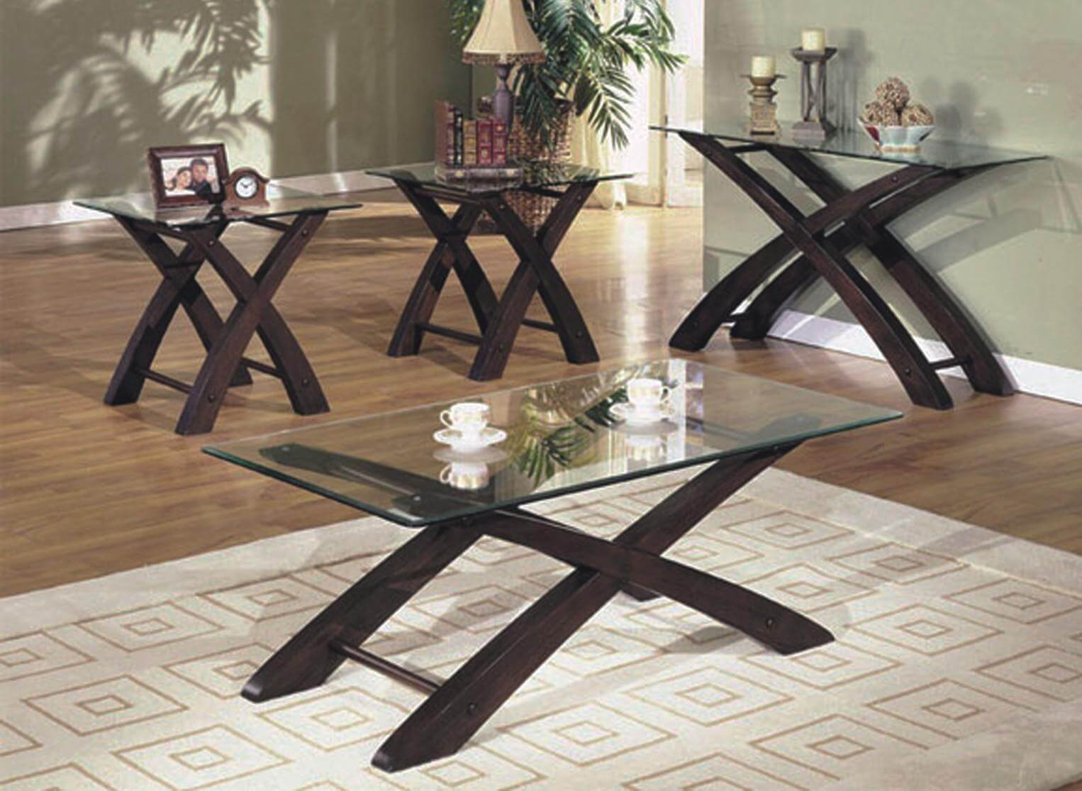 Cherry And Glass Coffee End Table Set Occasional Tables