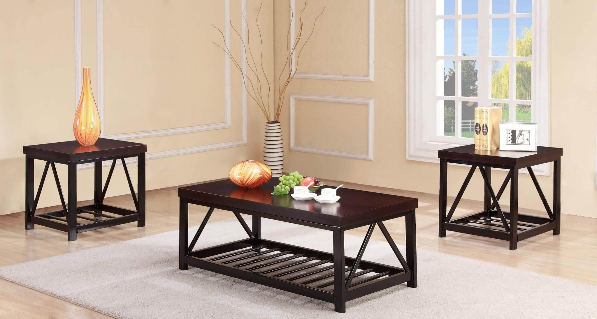 Dark Wood Coffee End Table Set