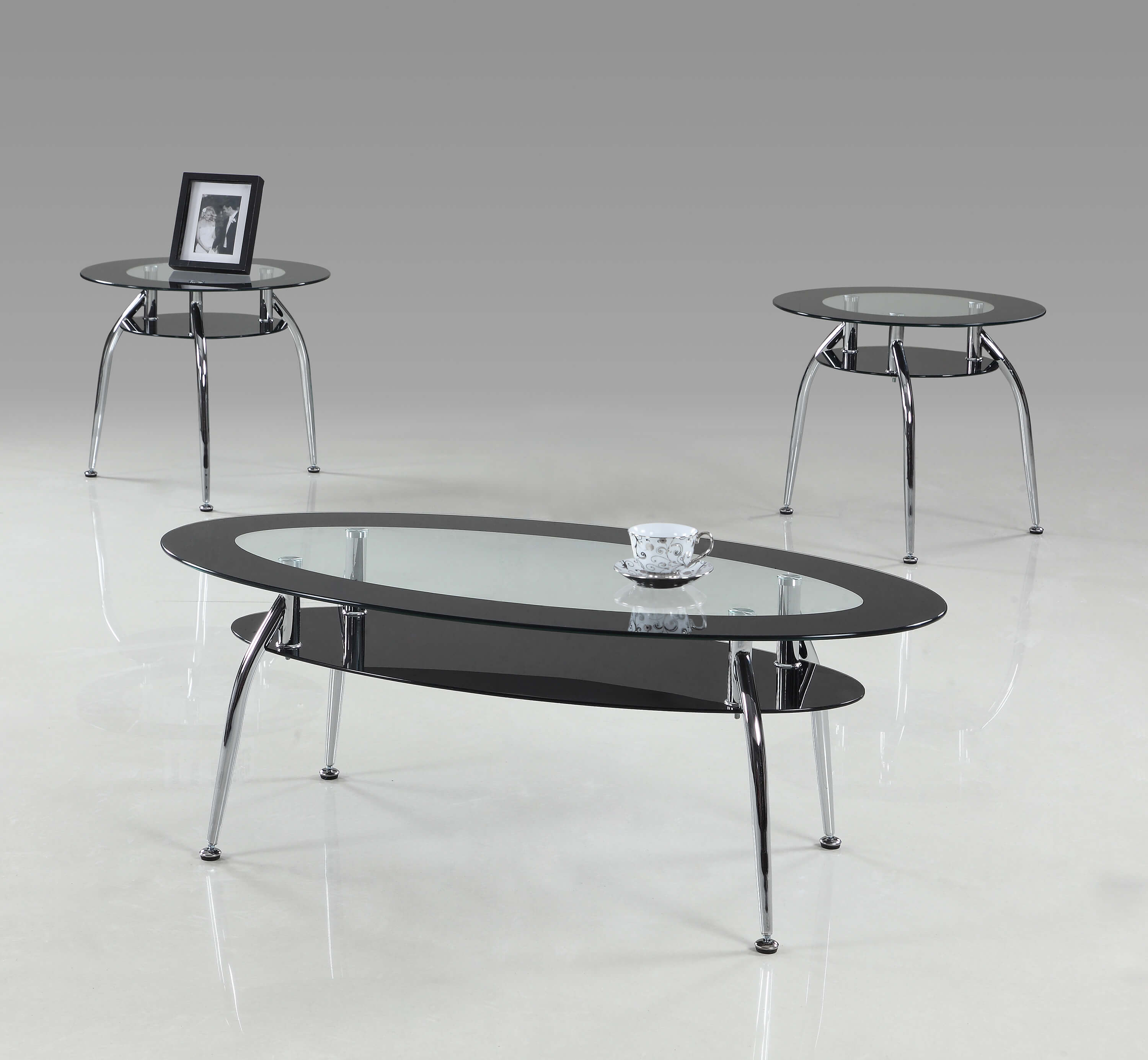 3270 mila modern black and glass coffee and end table set
