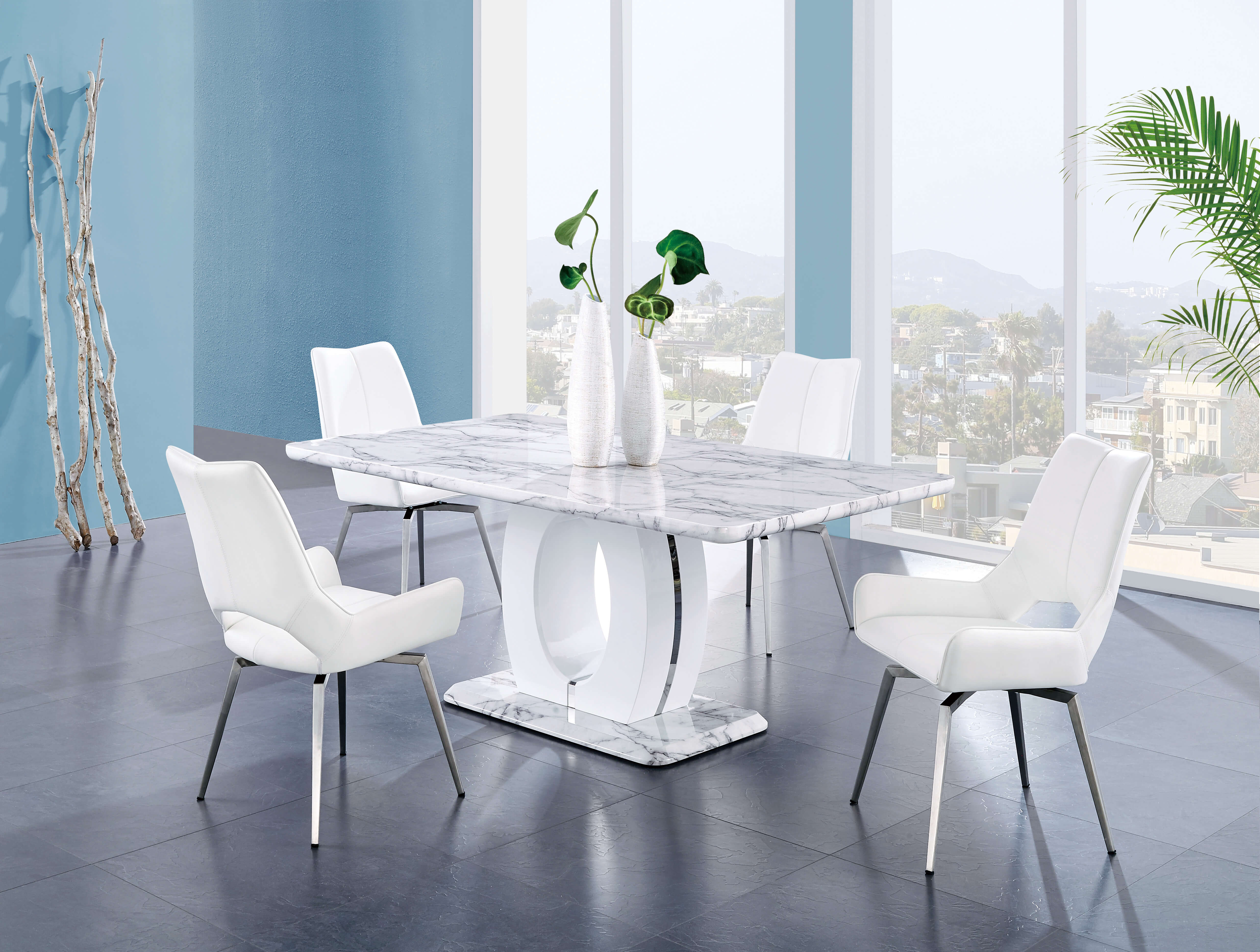 Contemporary Marble Finish With White Swivel Chairs