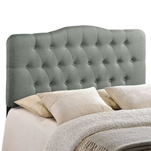Modway Annabel Tufted Button Linen Fabric Upholstered Queen Headboard in Gray