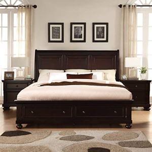 Roundhill Furniture Brishland Storage Bed Room Set, King, Rustic Cherry