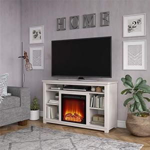 "Ameriwood Home Edgewood Fireplace 55"", Ivory Pine TV Stand,"