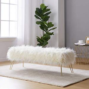 "Ornavo Home Modern Contemporary Faux Fur Long Bench Ottoman Foot Rest Stool/Seat with Gold Metal Legs - 15"" L x 45"" W x 15"" H (White)"