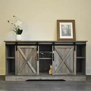 """Rainbow Sophia Forest Series Wooden TV Stand with Sliding Barn Door for TVs up to 65"""" (Washed Oak)"""