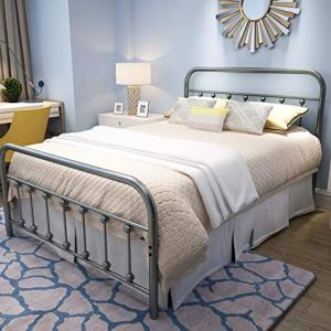 YALAXON Vintage Sturdy Full Size Metal Bed Frame with Headboard and Footboard