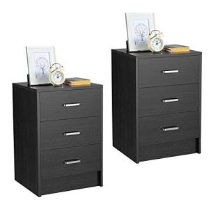 Yaheetech Nightstands Bedside Tables with 3 Drawers, Wooden End Side Table Storage Stand for Bedrooms, Accent Furniture, Set of 2