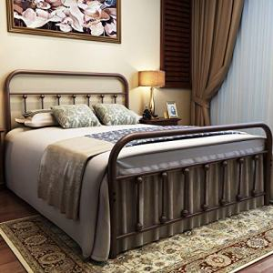URODECOR Metal Bed Frame Full Size Headboard and Footboard