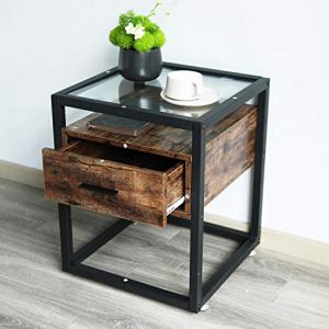 IRONCK Industrial Side Tables Living Room, Nightstand Bedroom