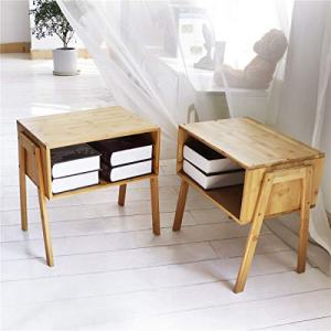 LASUAVY Bamboo Nightstand Stackable Side Table End Table Bedside Table
