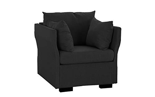 Modern Living Room Linen Fabric Armchair/Accent Chair (Dark Grey)