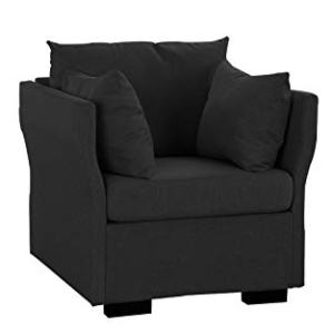Modern Living Room Linen Fabric Armchair/Accent Chair (Dark Grey)