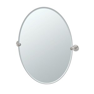 Gatco 5859LG Marina Large Oval Wall Mirror, Satin Nickel