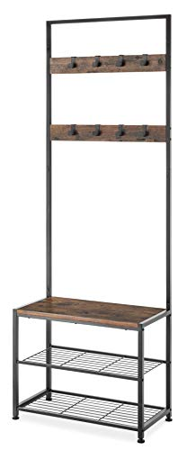 Whitmor Modern Industrial Entry Way Tower/Bench with Shoe Shelves