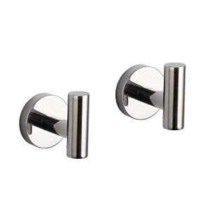 GERZ Bath Towel Hook SUS 304 Stainless Steel Coat/Robe Clothes Hook for Bath Kitchen Modern Hotel Style Wall Mounted 2 Pack Polished Chrome
