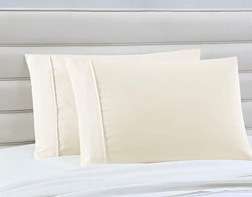 Manor Ridge Luxury 100 GSM Brushed Microfiber Pillowcases, Set of 2, Standard, Ivory
