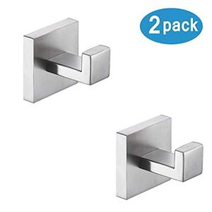 TASTOS Bath Towel Hooks Brushed Nickel, 2 Pack Stainless Steel Robe Coat and Clothes Hook, Heavy Duty Wall Hook for Bathroom & Kitchen, Modern Square Style Wall Mounted (Silver)