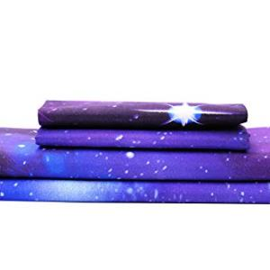 Bedlifes Galaxy Sheets Outer Space 3D Sheet Set Galaxy Theme Bedding sets 4PCS Bed Sheet& Fitted Sheet with 2 Pillowcases Purple Full